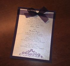DIY Plum Wedding Invitations ( turns out to only be about 80 cents per invitation including envelopes )