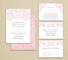 Printable/DIY Wedding Invitation Collection w/ Flowing Ornate Scrolls. $45.00, via Etsy.