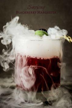 Smoking Blackberry Sage Margarita - The perfect Halloween cocktail! | wickedspatula.com