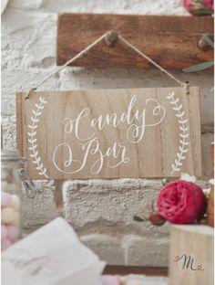 Insegna per candy bar. Insegna in legno per allestire la vostra caramellata.  Cordino per appendere incluso.  Misure: 12 x 25 cm. In #promozione #matrimonio #weddingday #wedding #ricevimento #insegne #decorazioni #luci #banner #illuminatedsigns #decorations #lights