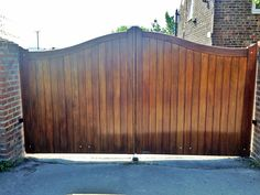 Arch top timber gate fitted with automated electromechanical rams installed by us in North Yorkshire Timber Gates, North Yorkshire, Fence, Arch, Wooden Gates, Bow, Wood Gates, Arches