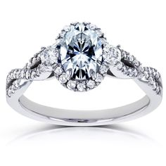 Annello by Kobelli 14k White Gold Oval Forever One GHI Moissanite and 1/3ct TDW Diamond Halo Vintage Engagement Ring (Size 6.5), Women's