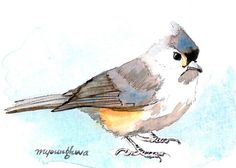 ACEO Limited Edition 3/25 - Titmouse, Art print of an original watercolor miniature painting by Anna Lee, Bird art, Gift idea for holliday
