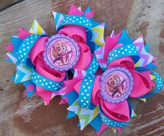 Paw Patrol Skye Inspired Piggy Tails 4 Inch Bows / by BethsAddABow, $10.99