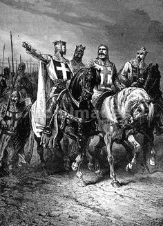 "Leaders of First Crusade - 19th-century illustration, ""The four leaders of the First Crusade.--Godfrey, Raymond, Boemund, Tancred,"" drawn by A. de Neuville. This illustration depicts Godfrey of Buillon, Raymond IV of Toulouse, Bohemond I and Tancred of Hauteville. The four led the Christian army to victories at Jerusalem and Antioch during the First Crusade."
