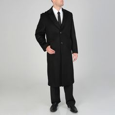 Pronto Moda Men's 'Harvard' Wool-cashmere Full-length Coat (-36R)