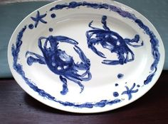 Blue Crab Lg. Oval Platter by brookepickering on Etsy, $88.00