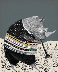 Travail sensible de la jeune illustratrice hollandaise Liekeland #rinoceros