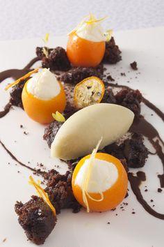 1-Michelin Star Restaurant L'altro's seasonal dessert - Citrus fruits and chocolate combination lime and mint sorbet, chocolate earth, orange and white chocolate cream, yuzu sauce