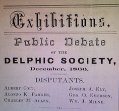 William J. Milne was a member of the Delphic Society at the University of Rochester. In 1871 he help form the Delphic Society at the Geneseo State Normal School (today SUNY Geneseo. Normal School, School Today, University Of Rochester, Sigma Tau, Fraternity
