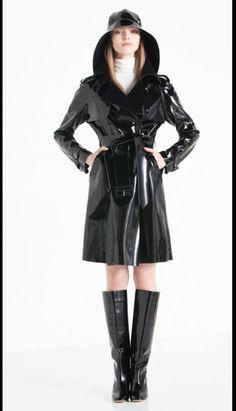 Black raincoat & white turtleneck