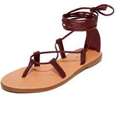 Madewell Boardwalk Lace Up Gladiator Sandals (94 AUD) ❤ liked on Polyvore featuring shoes, sandals, dark cabernet, strappy sandals, madewell sandals, laced up gladiator sandals, greek leather sandals and leather strap sandals