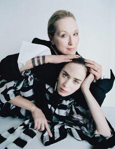 Meryl Streep, Emily Blunt, photographed by Tim Walker for fashion magazine W Magazine February 2015