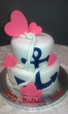 Anchor And Hearts. D & D Cake Designs. Jacksonville, Florida