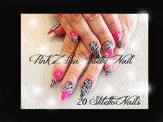 20 Pink Zebra Stiletto False Nails Full Cover Acrylic Press On Nails Set+Glue #Emitokyonails