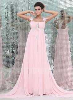 Empire Watteau Train Chiffon Evening Dress With Ruffle Beading Appliques Lace (017017403) - JJsHouse