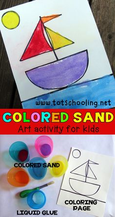 Colored Sand Art Activity Preschool Painting, Preschool Art, Art Activities For Kids, Preschool Activities, Sand Art For Kids, Colored Sand Art, Sand Crafts, Learn Art, Halloween Crafts For Kids