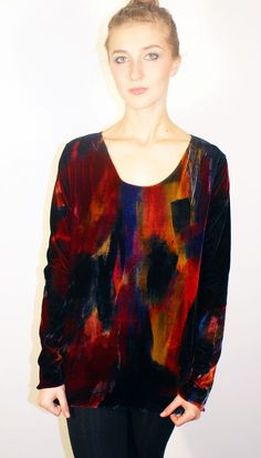 A new collection available for sale or to commission now info@carolewaller.co.uk silk viscose stretch tee shirt original wearable art painted clothing by Carole Waller 'I'm No Walking Canvas'