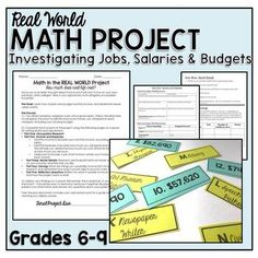 Real Life Math Project Investigating Budgets Math in the Real World Project: Investigating Jobs, Salaries and Budgets Math Skills, Math Lessons, Consumer Math, Real Life Math, Math Intervention, Stress, 7th Grade Math, Math About Me, Gymnasium