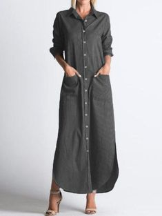 Vonda Long Shirt Dress Women 2019 Autumn Casual Lapel Neck Long Sleeve Party Dress Buttons Split Striped Vestidos Plus Size Vestidos Plus Size, Camisa Formal, Maxi Shirt Dress, Collar Dress, Striped Dress, Casual Dresses, Dresses Dresses, Long Dresses, Party Dresses