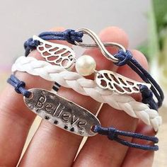 Lovely Angel Wing Believe Infinity Bracelet For Lovers-Fashion Shopping Mall Cute Bracelets, Ankle Bracelets, Fashion Bracelets, Fashion Jewelry, Beaded Bracelets, Pearl Bracelet, Diy Bracelet, Bracelet Tutorial, Diy Fashion
