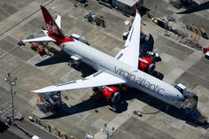 Virgin Atlantic's first 787 seen from the air at Paine Field - Photo: Bernie Leighton