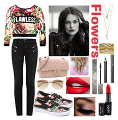 """""""Flowers"""" by cata-gaspar ❤ liked on Polyvore featuring beauty, J Brand, Vans, Chanel, Witchery, NYX, Burberry, With Love From CA and Accessorize"""