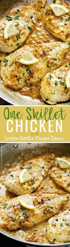 Say hello to your new favorite one skillet chicken dinner that's topped with a lemon garlic butter cream sauce! I used thin chicken breasts but this recipe would be delicious with boneless chicken thighs too! Lemon Recipes Dinner, New Recipes, Favorite Recipes, Angel Hair, Skillet Chicken, Lemon Chicken, Healthy Dinners, One Pot Meals, Ketogenic Diet