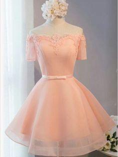 2017 Homecoming Dress Off-the-shoulder Pink Short Prom Dress Party Dress JK075