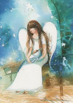 Angel Art by Minna Immonen Christmas Angels, Christmas Art, Angel Illustration, I Believe In Angels, My Guardian Angel, Les Religions, Angels Among Us, Angels In Heaven, Angel Art