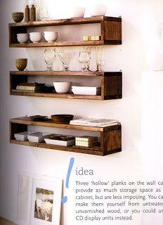 floating timber shelves/boxes