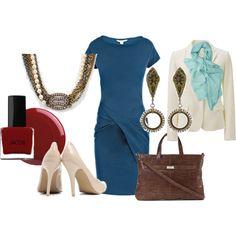 blue dress work + Angel Court by anfernee-131 on Polyvore featuring Diane Von Furstenberg, Uniqlo, AX Paris, Lodis and Rebecca Minkoff