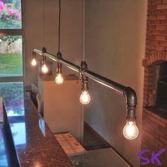 New office lighting diy industrial pipe Ideas Lustre Industrial, Industrial Light Fixtures, Industrial Office, Industrial Lighting, Industrial Design, Industrial Pipe, Office Lighting, Home Lighting, Club Lighting