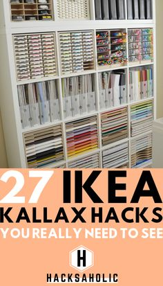 There are so many great Ikea Kallax hacks out there but which are the best? We've brought together the very best Ikea Kallax hacks for you in one place. You can create so many gorgeous and practical pieces of furniture with an Ikea Kallax. Hacks Ikea, Ikea Kallax Hack, Diy Hacks, Ikea Shelf Hack, Ikea Billy Hack, Billy Bookcase Hack, Ikea Craft Room, Craft Room Storage, Craft Organization
