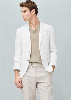 Linen cotton-blend blazer | MANGO MAN