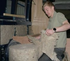 Jake insulating a Fiat Ducato Long Wheel Base van conversion with Thermafleece Cosywool.