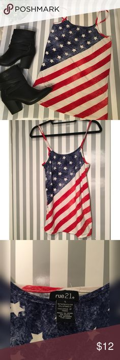 American flag camisoles shirt This spaghetti strap shirt is in perfect condition. Very very smooth and stretchy. Size Large. Tops Camisoles