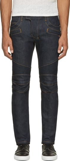 Balmain Blue Raw Denim Contrast Stitch Biker Jeans