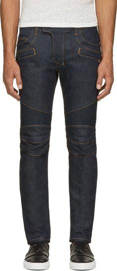 Balmain Blue Raw Denim Contrast Stitch Biker Jeans