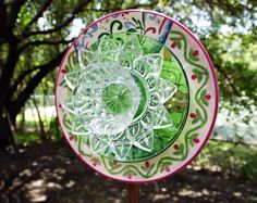 PINK & GREEN  Glass Garden Plate Flower, Yard Art, Garden flower art, Garden Gift, Garden Decor, Suncatcher, Recycled, Bird Feeder