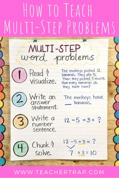 Multi-step word problems require a special set of problem-solving strategies. Word Problems 3rd Grade, 3rd Grade Words, Math Story Problems, 4th Grade Math, Third Grade, Grade 2, Math Charts, Math Anchor Charts, Guided Math