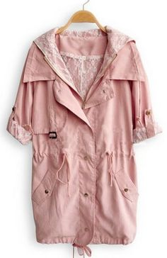 Pink Hooded Long Sleeve Pockets Zipper Trench Coat