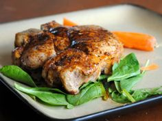 Pan-Roasted Pork Chops - Start on the stove top and finish in the oven. These sound great! Best Baked Pork Chops, Best Pork Chop Recipe, Roast Pork Chops, Easy Pork Chop Recipes, Pork Ribs, Spicy Recipes, Pork Recipes, Cooking Recipes, Skillet Recipes