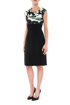 Dior Woman Foral Print Bicolor Silk Dress - LuxuryProductsOnline