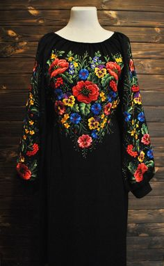 901aedcec49a9 Plus Size Mexican DRESS Peasant Smock Embroidered 2X 3X Vintage ...