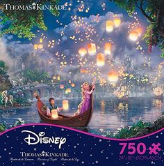 Thomas Kinkade Disney Dreams - Tangled 750 Piece Jigsaw Puzzle 24 x 18in Disney Rapunzel, Tangled Rapunzel, Rapunzel Room, Disney Princess, Thomas Kinkade Disney Puzzles, Tangled Lanterns, Walt Disney Movies, Disney Art, Floating Lanterns