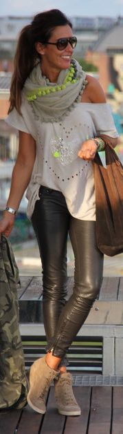 leather pants, flowy top, taupe & neon yellow accent