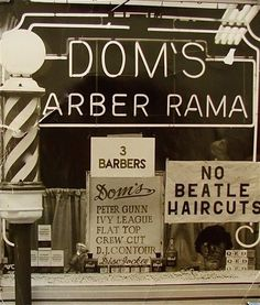 """Adults hated how young people loved the Beatles (notice the sign in the window) - they thought """"long"""" hair was shocking - we weren't allowed to wear that type of haircut in school (even the girls) - they had no idea what was yet to come!!  Ha Ha.  mama"""