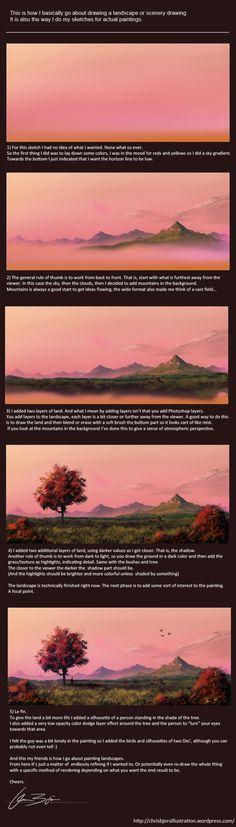 Landscape tutorial by ChrisBjors on @DeviantArt