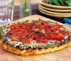 Pesto pizza- I'd sub the roma tomatoes for sun-dried.